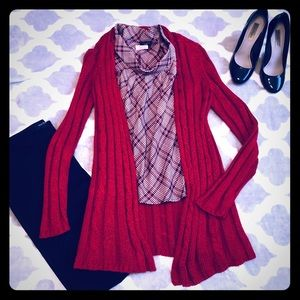 3/$30 EUC red cardigan